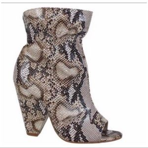 Shoes - Faux Snake Skin Peep Toe Booties